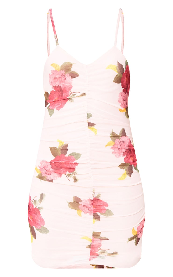 Pink Floral Mesh Ruched Front Bodycon Dress 3