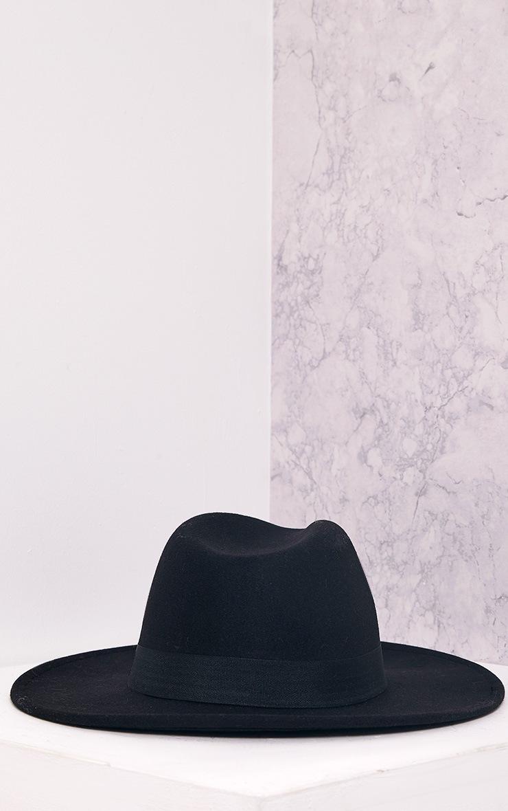 Kynia Black Wide Fedora Hat 3