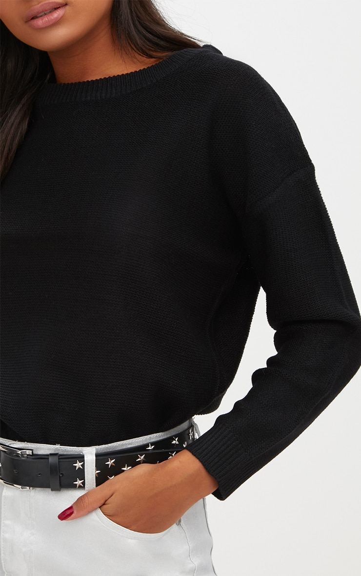 Black Boxy Basic Jumper 5