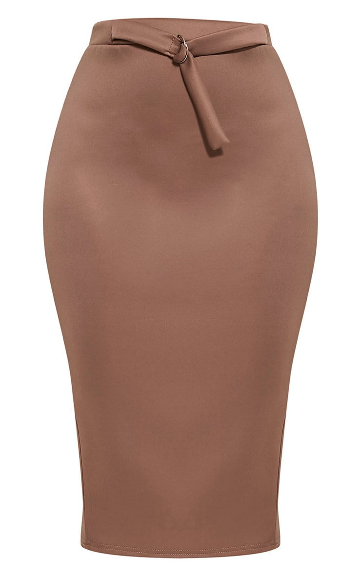 Reyna Taupe D-Ring Belt Scuba Midi Skirt 3