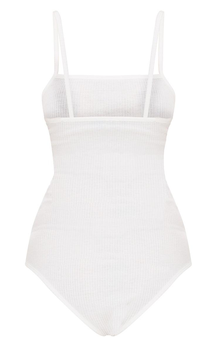 Body-string côtelé blanc à col carré 4