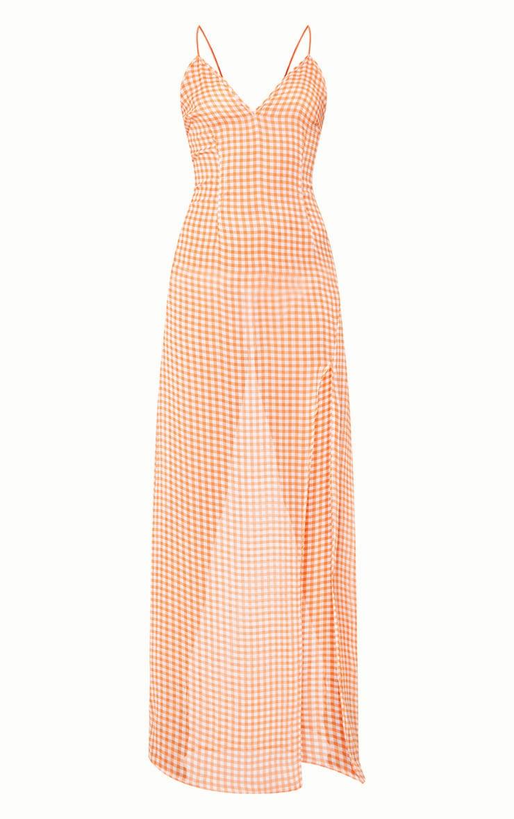 Orange Strappy Gingham Chiffon Maxi Dress  3