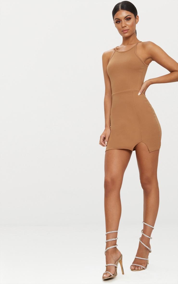 Aniqah Camel High Neck Split Detail Bodycon Dress 3