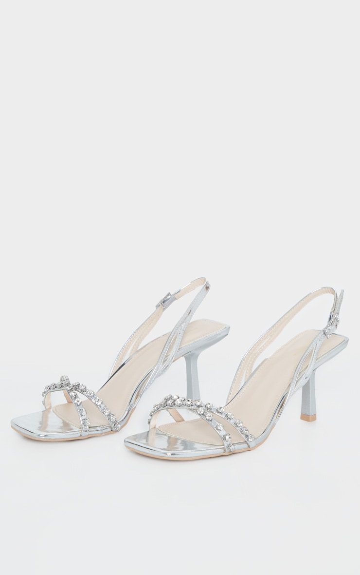 Silver Low Heel Square Toe Diamante Strap Sandal 4