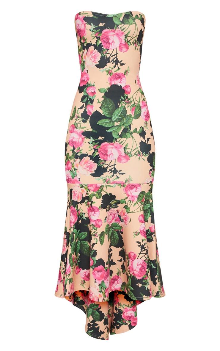 Peach Floral Bandeau Fishtail Midi Dress 3