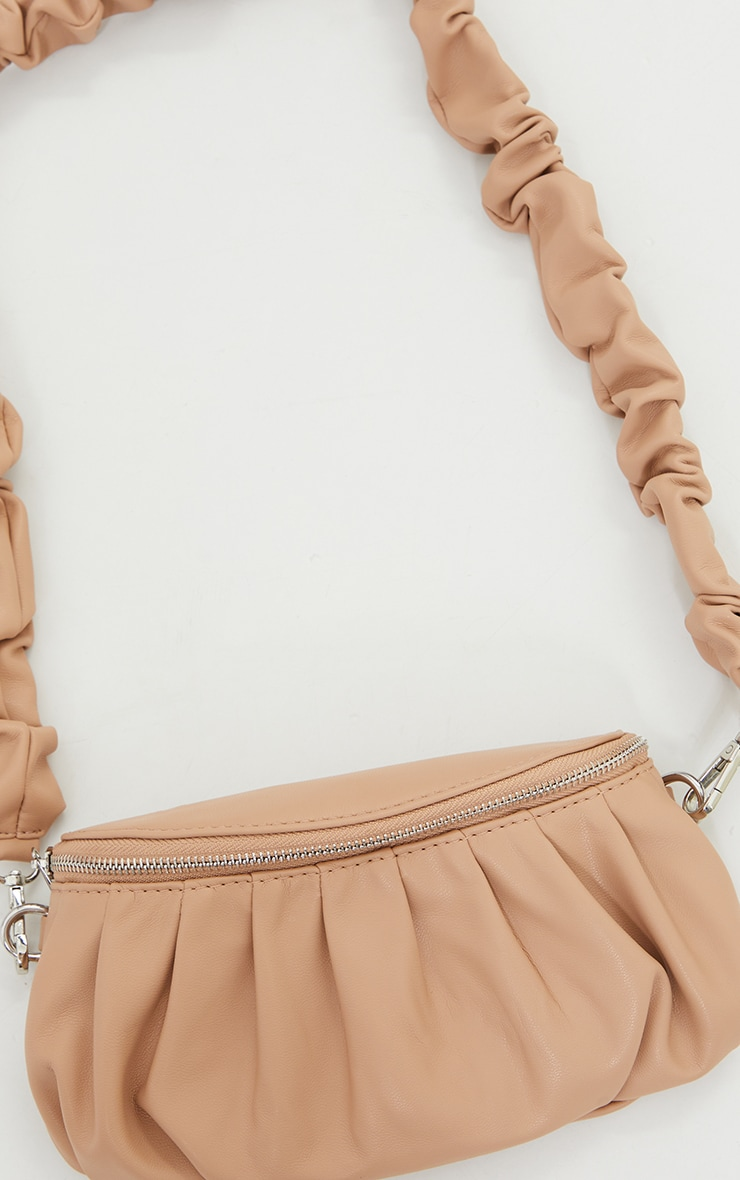 Beige Ruched Strap Cross Body Bag 4