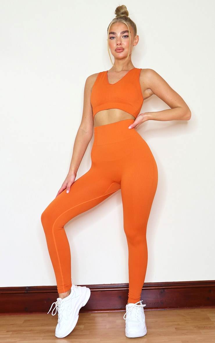 Burnt Orange Textured Seamless V Neck Cropped Sports Top 3