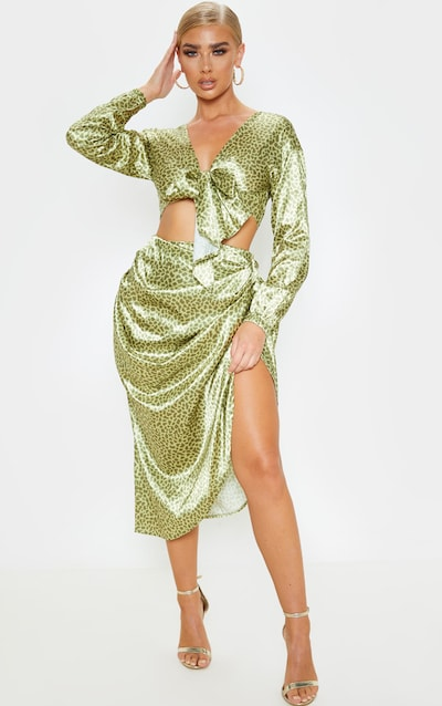 Yellow Giraffe Print Ruched Side Midi Skirt