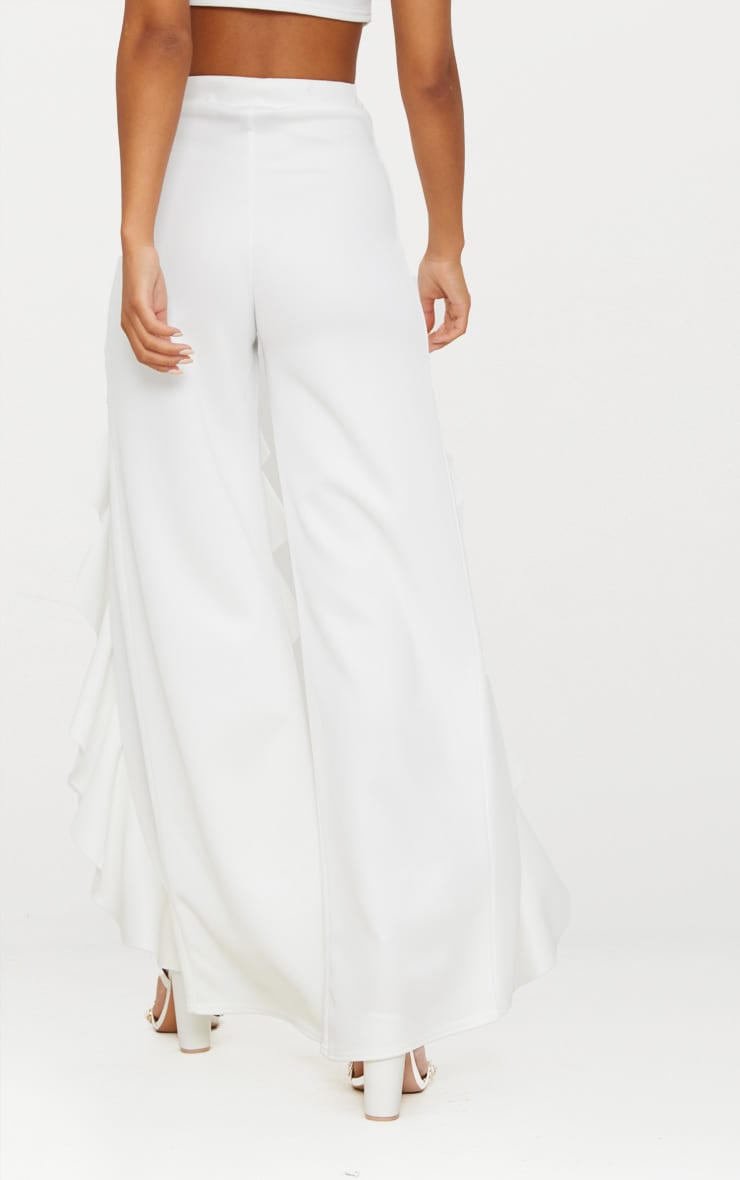White Ruffle Front Wide Leg Pants  4
