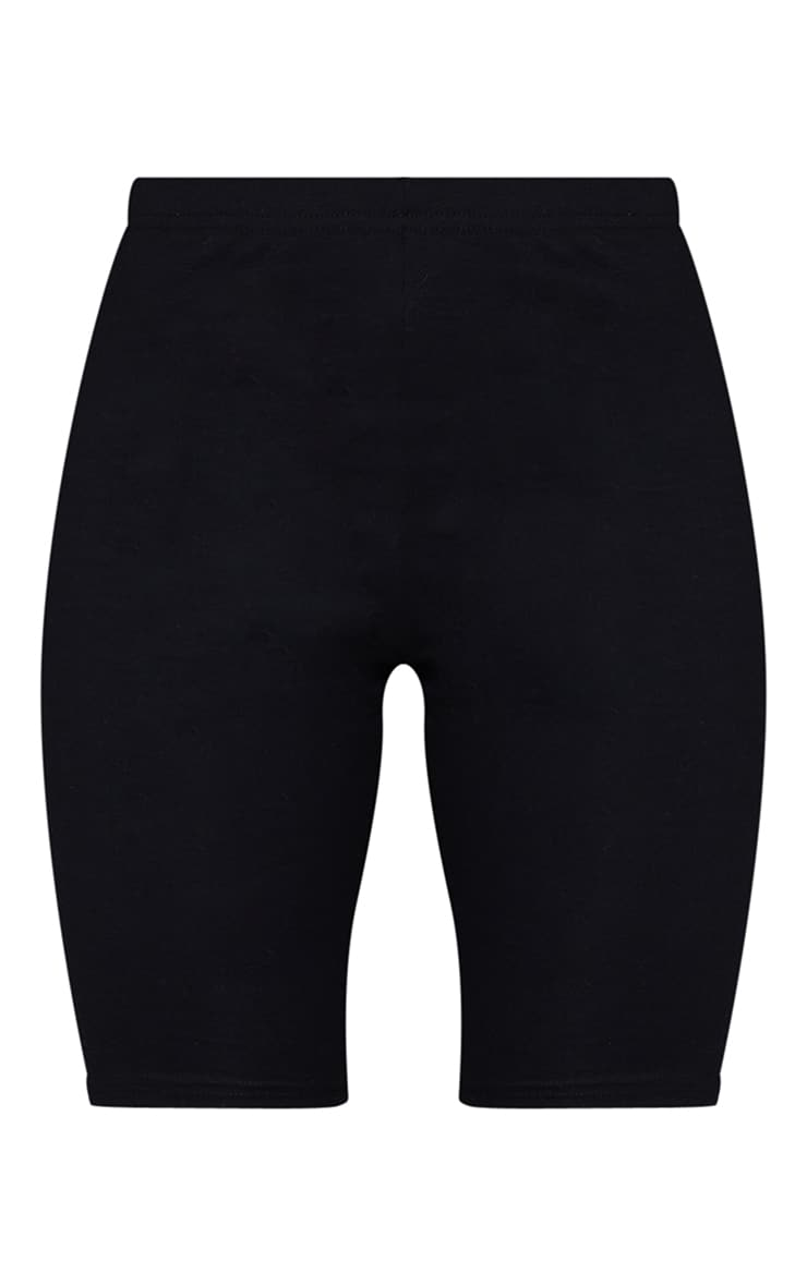 Black Cotton Stretch Bike Short 6