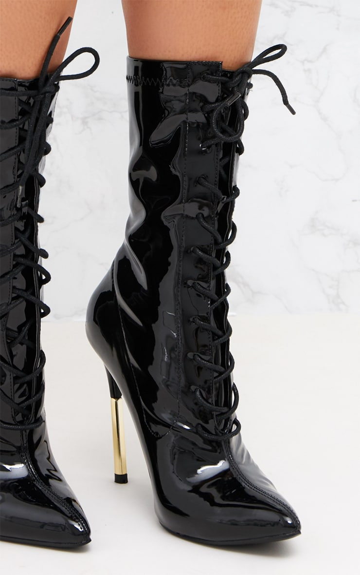 Black Patent Lace Up Gold Slim Heel Ankle Boot  5