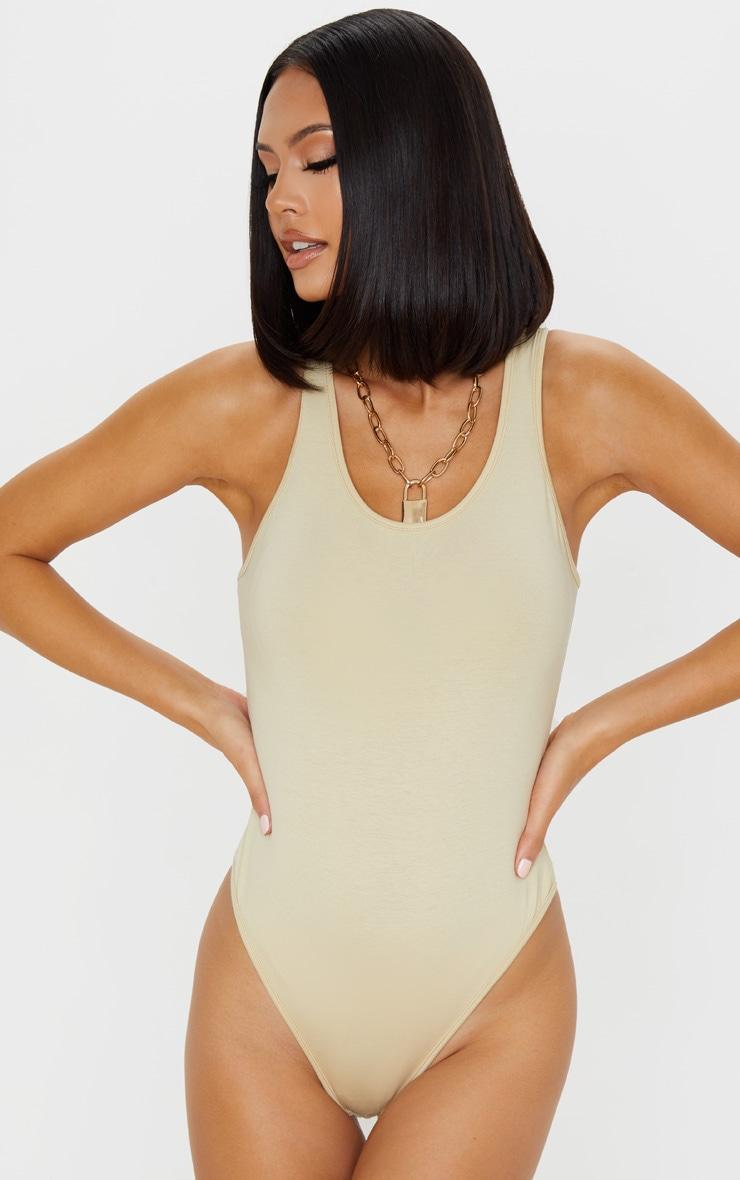 Sand Cotton Sleeveless Scoop Neck Bodysuit 2
