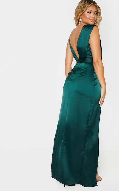Emerald Green Asymmetric Drape Detail Maxi Dress