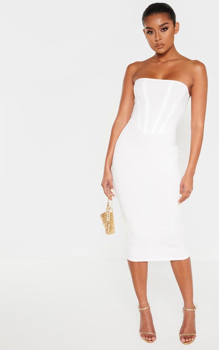 Coutures Blanche Détail À Mi Robe Bandeau Longue eWEI29YDH