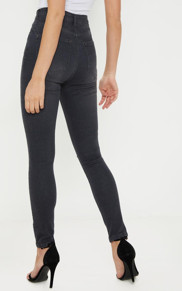 Grey Knee Rip 5 Pocket Skinny Jean  4