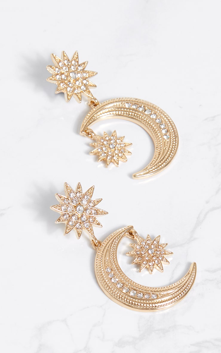 Gold Diamante Stars and Moon Earrings 4