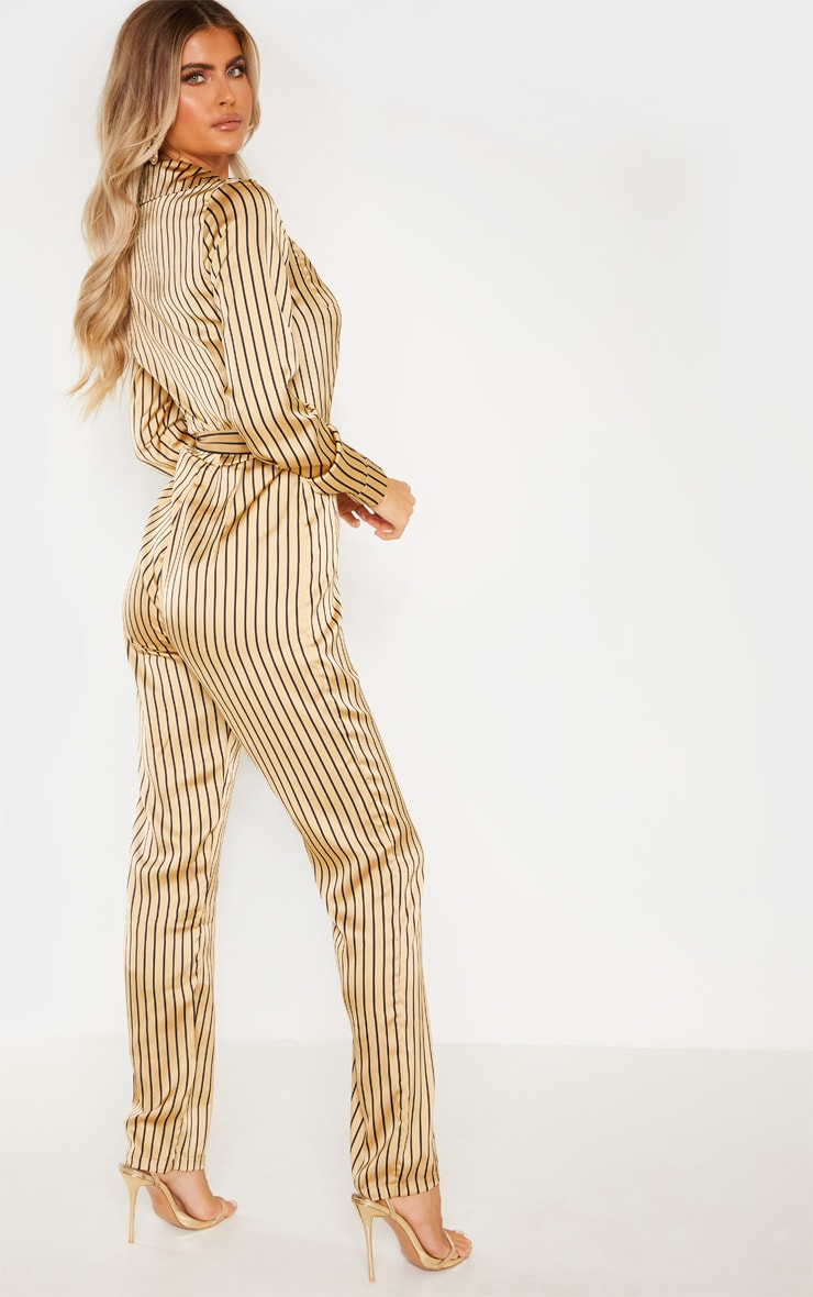 Tall Cream Stripe Square Pocket Long Sleeve Utility Jumpsuit 2