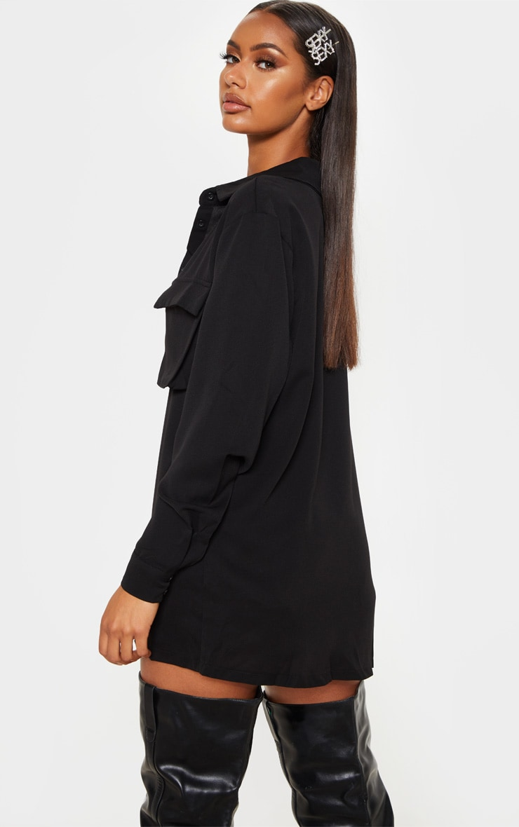 Black Oversized Chiffon Shirt 2