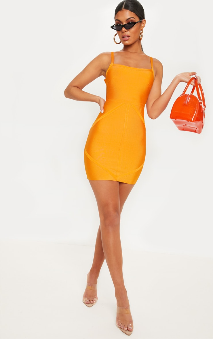 Bright Orange Strappy Square Neck Bodycon Dress 4