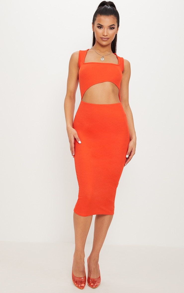 Bright Orange Square Neck Cut Out Midi Dress 1