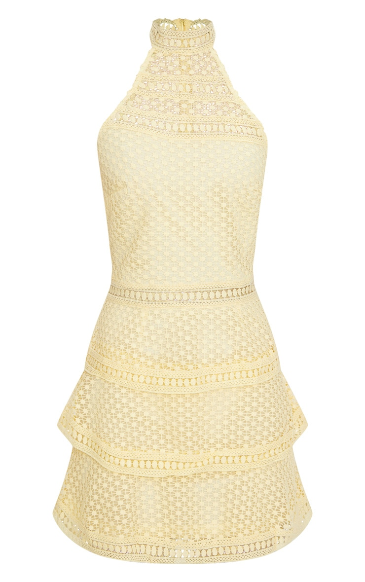 Lemon Lace Panel Tiered Bodycon Dress  3