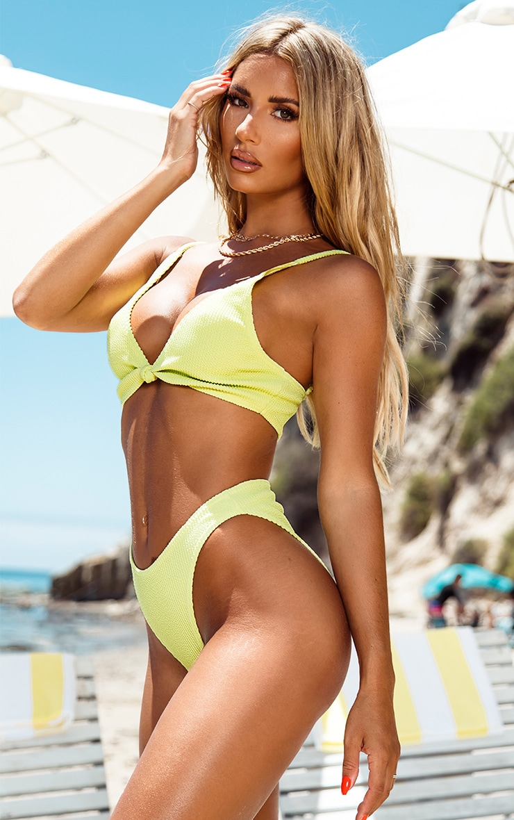 Sage Green Crinkle Cheeky Bum Bikini Bottom 2