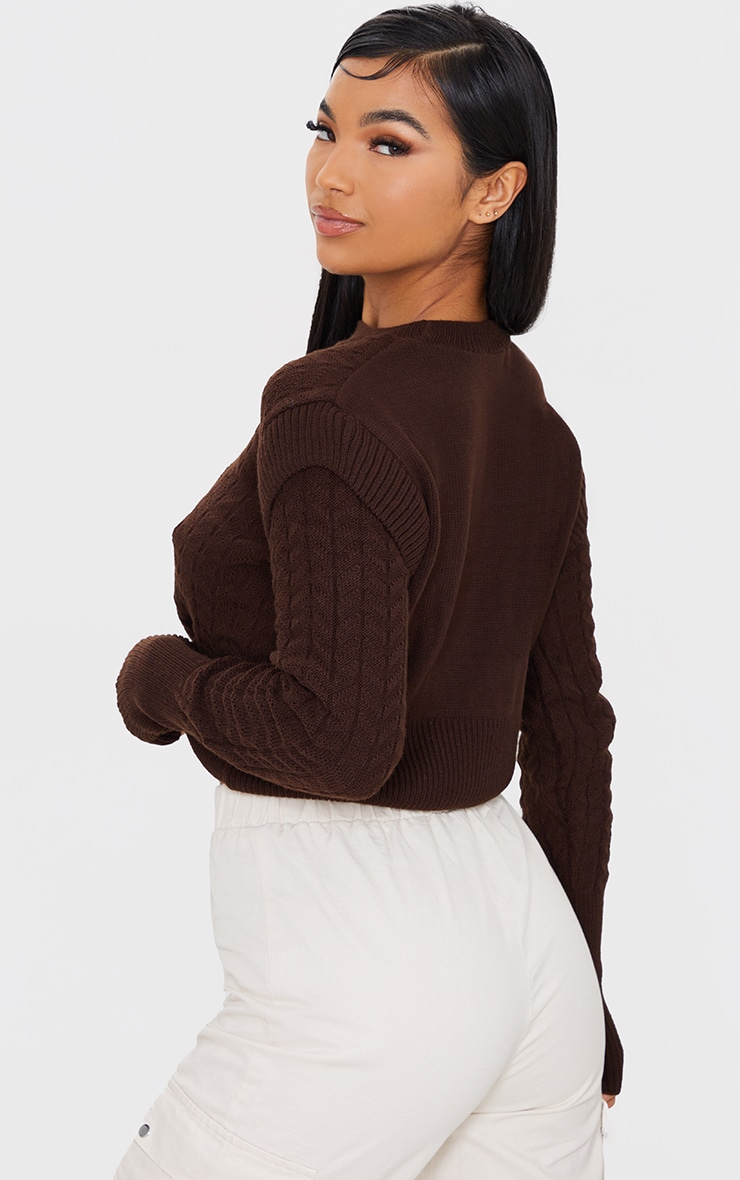 Chocolate Shoulder Detail Cable Knitted Jumper 2