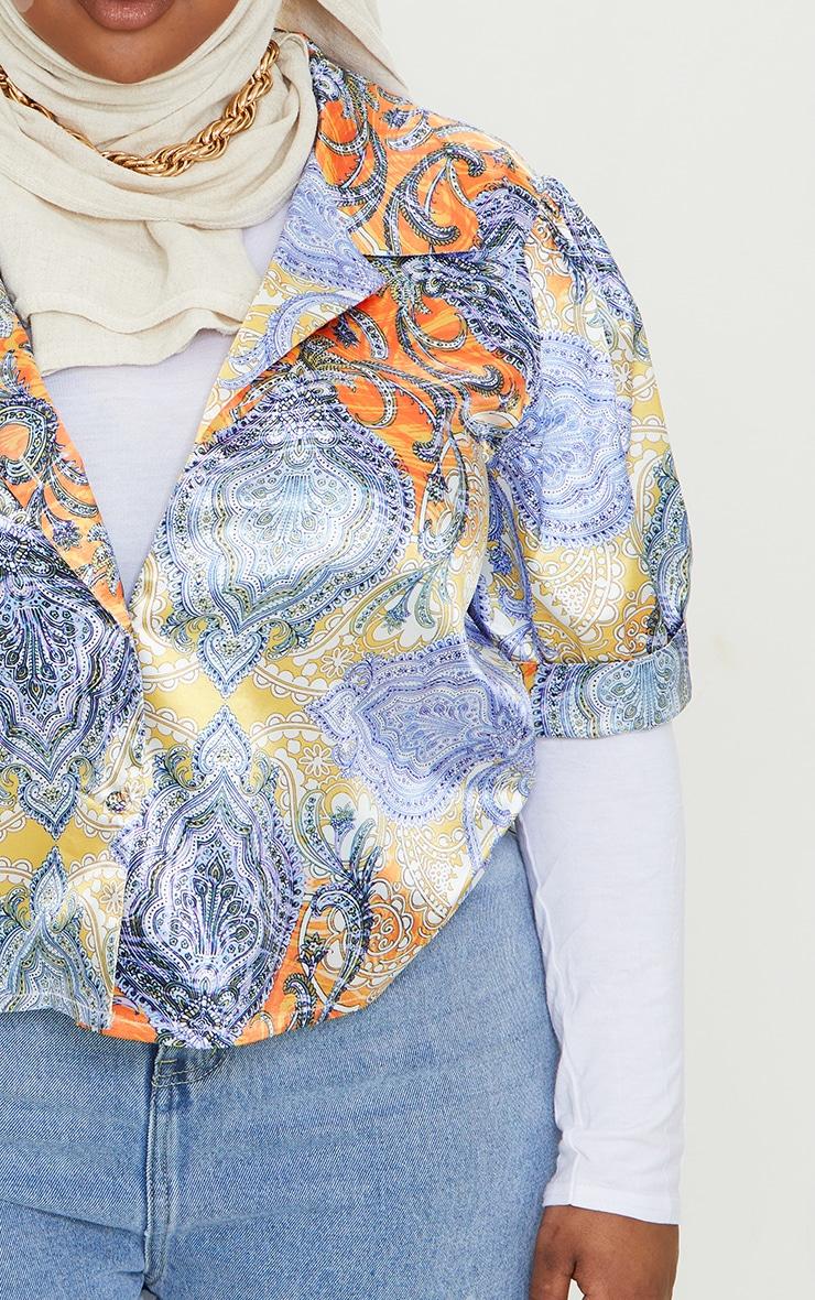 Plus Multi Paisley Printed Satin Elasticated Short Sleeve Shirt 4