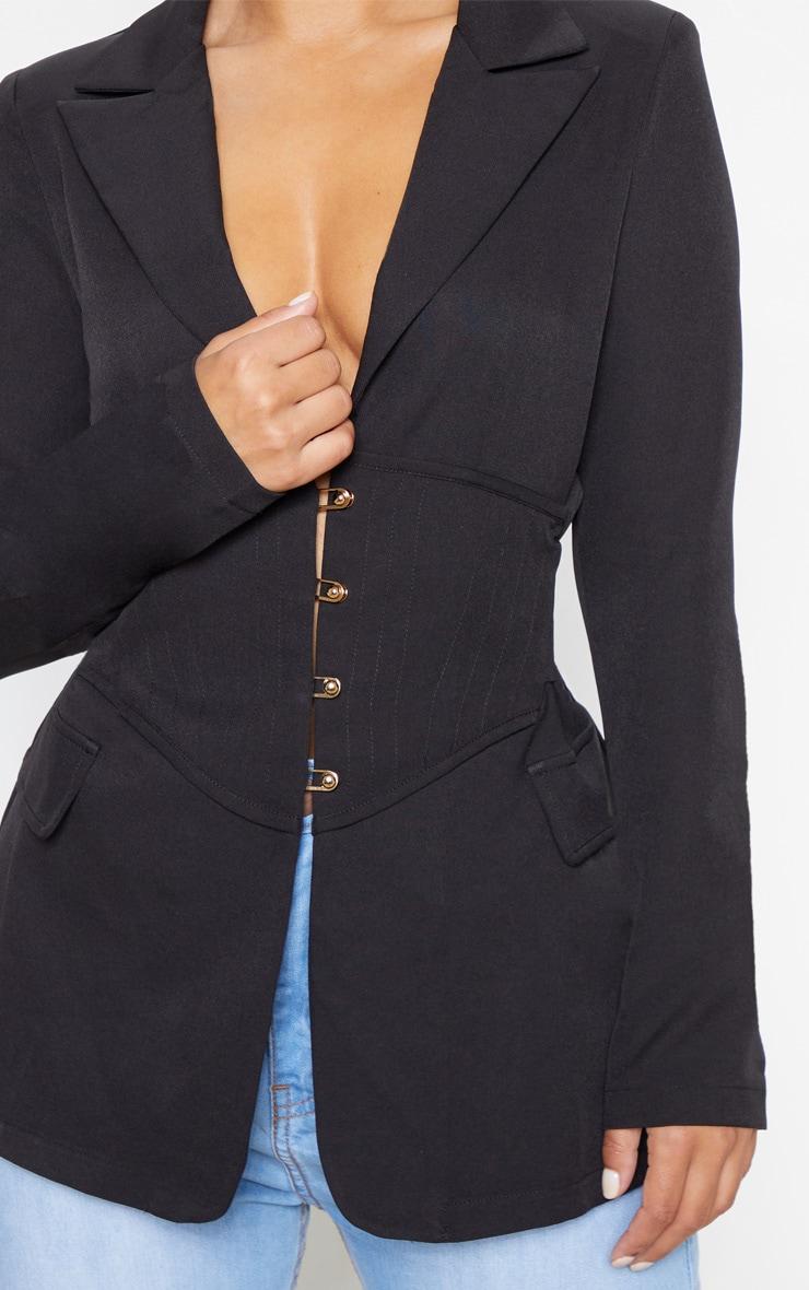 Petite Black Corset Woven Blazer 5