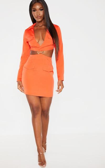 08d466fa534e3 Bright Orange Utility Cut Out Bodycon Dress
