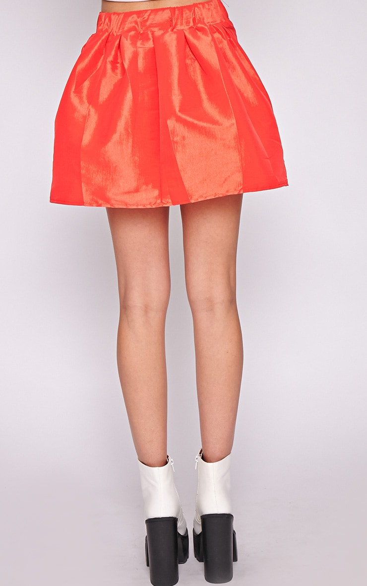 Jemima Red Structured Skater Skirt  4