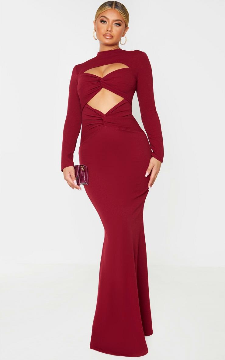Burgundy Twist Front Long Sleeve Maxi Dress 1