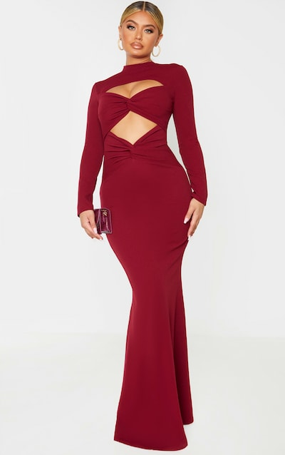 Burgundy Twist Front Long Sleeve Maxi Dress