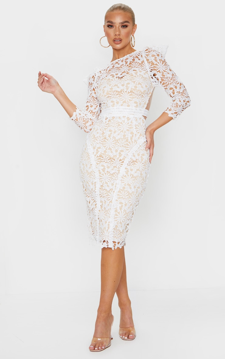 White Lace Open Back Long Sleeve Midi Dress 3