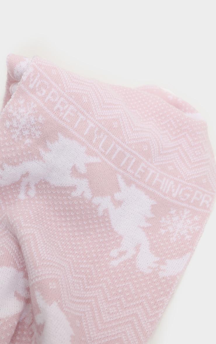 PRETTYLITTLETHING Pink Christmas Unicorn Print Scarf 3