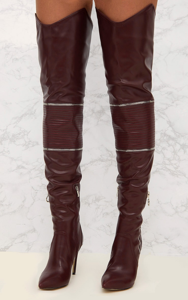 Burgundy Thigh High Heeled Biker Boots  2