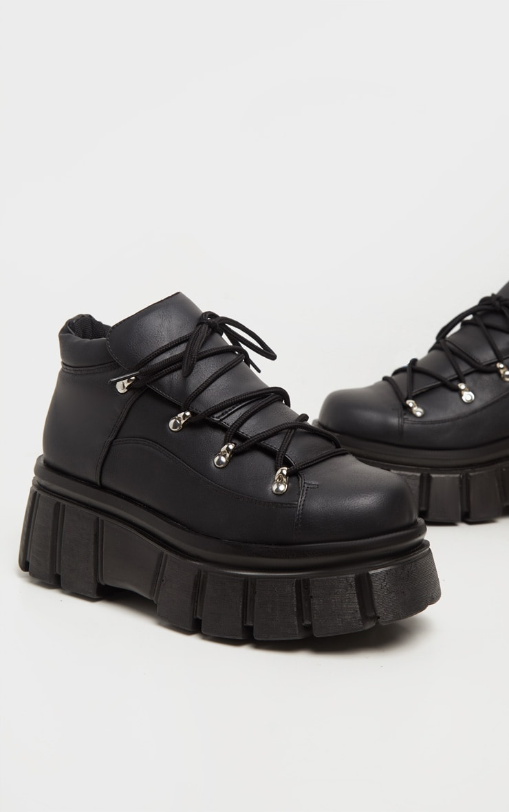 Black Extreme Flatform Chunky Sole Ankle Boot 4