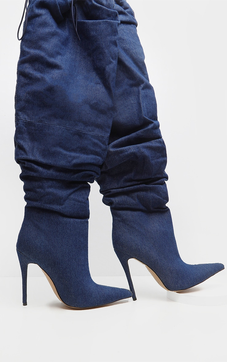 Denim Slouch Thigh High Boot