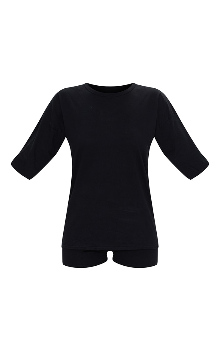 Black Cotton Oversized T-Shirt & Hot Pants Set 5