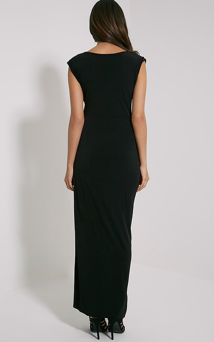 Reeta Black Twist Front Maxi Dress 2