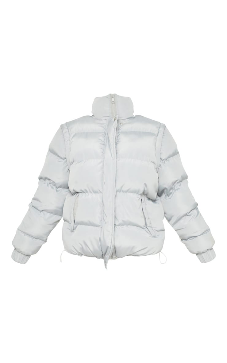 Tall Grey Shell Puffer Jacket 3