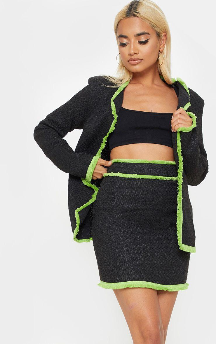 Petite Black Boucle Fringed Mini Skirt 1