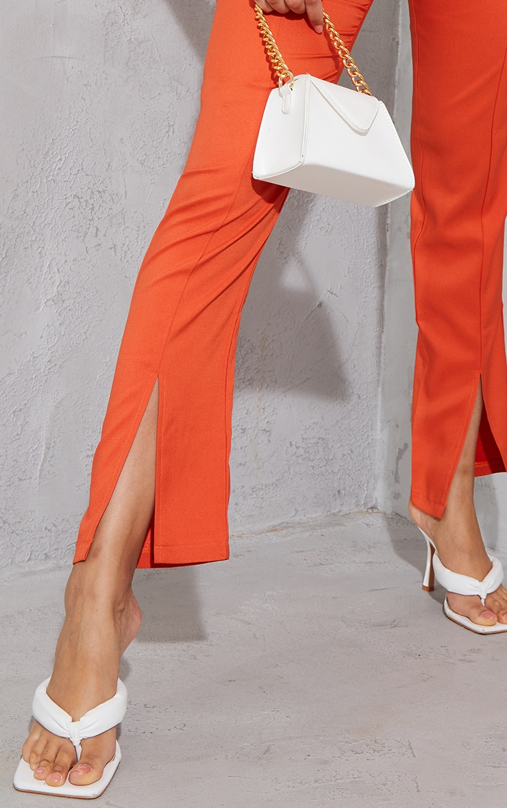 Orange High Waisted Straight Leg Split Hem Trousers 4