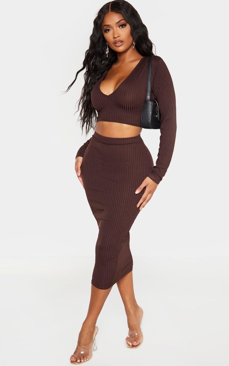 Shape - Jupe taille haute mi-longue marron chocolat côtelée 1