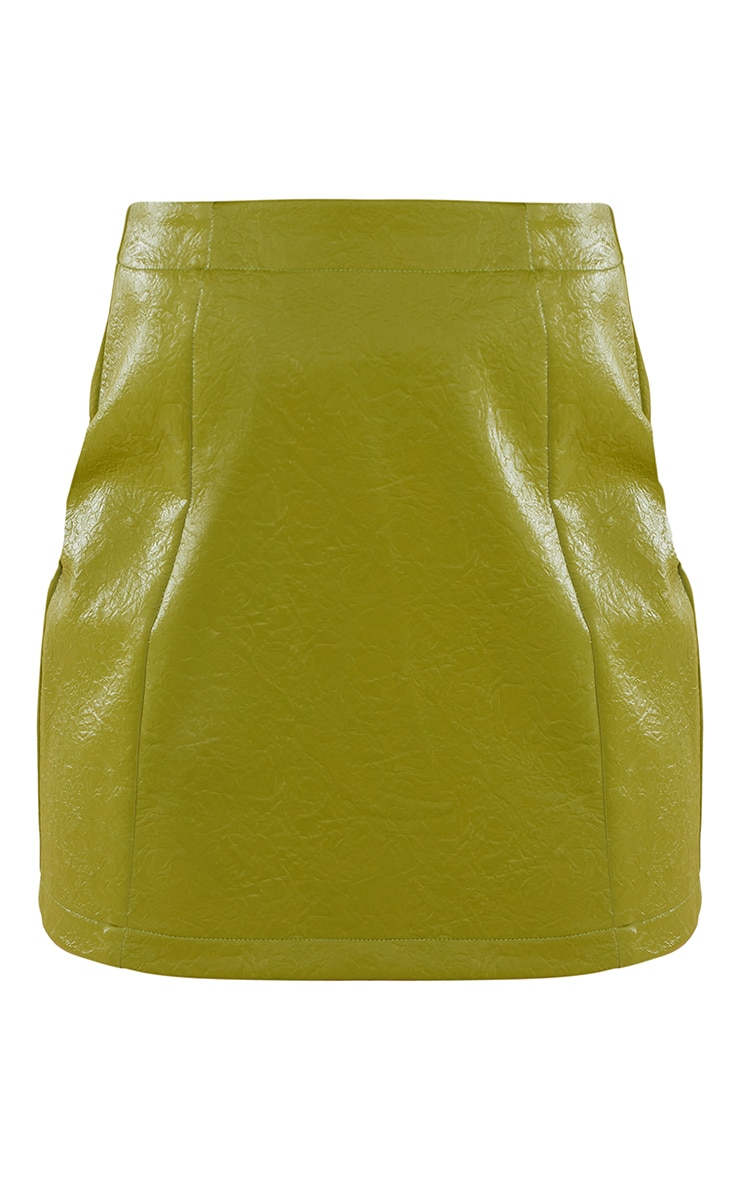 Olive Textured Faux Leather Mini Skirt 5