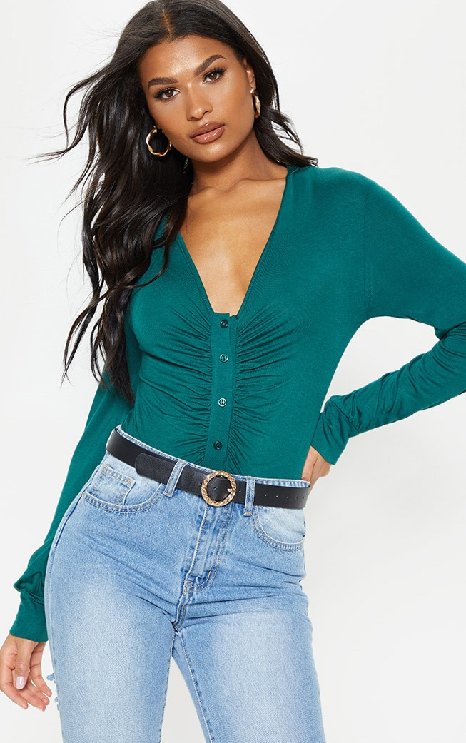 Emerald Jersey Button Front Collar Long Sleeve Bodysuit 1