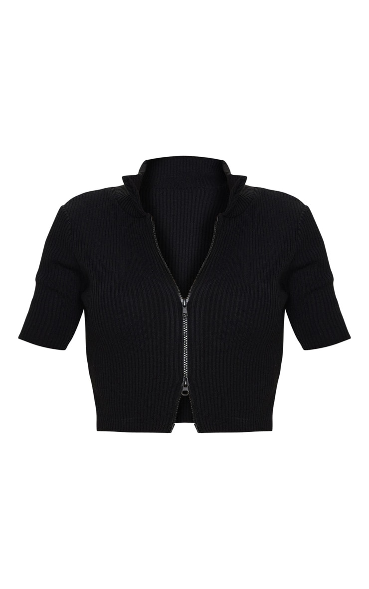 Black Double Ended Zip Short Sleeve Knitted Top 5