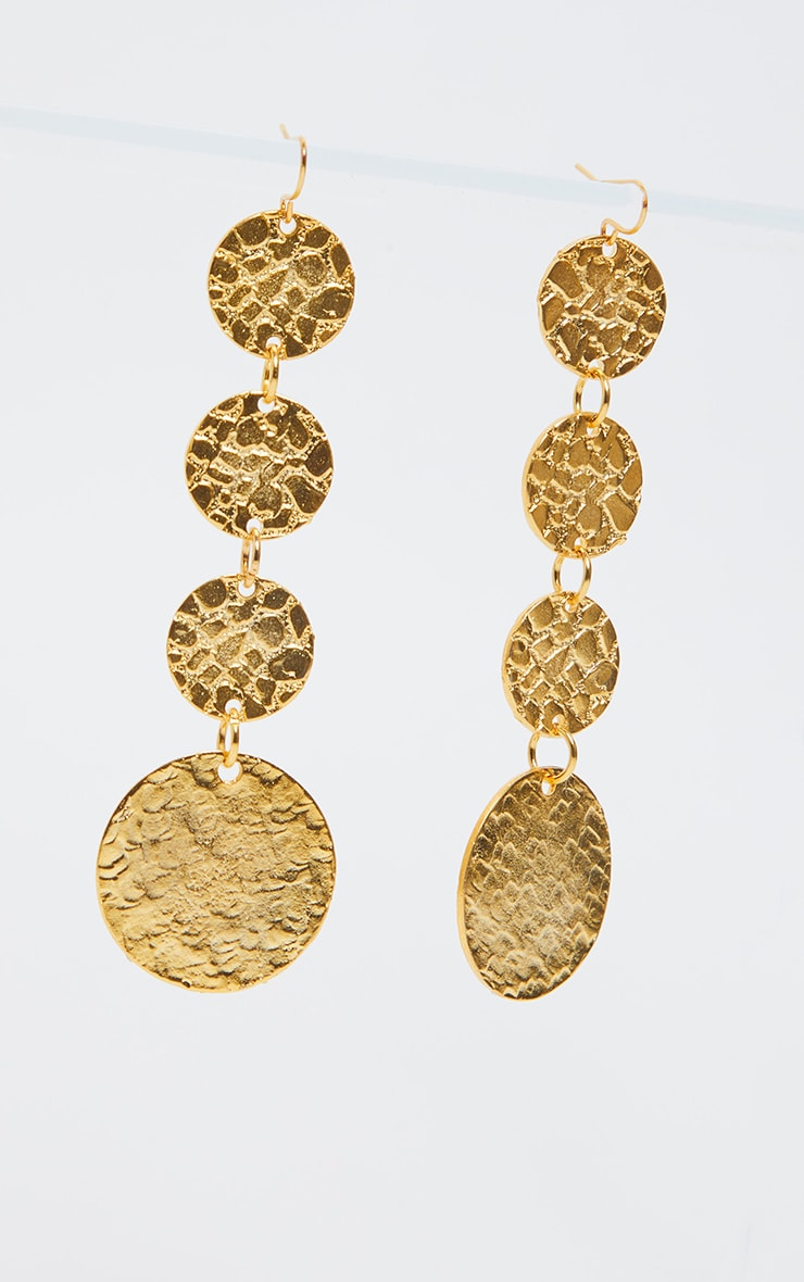 Gold Textured Coin Drop Earrings   2