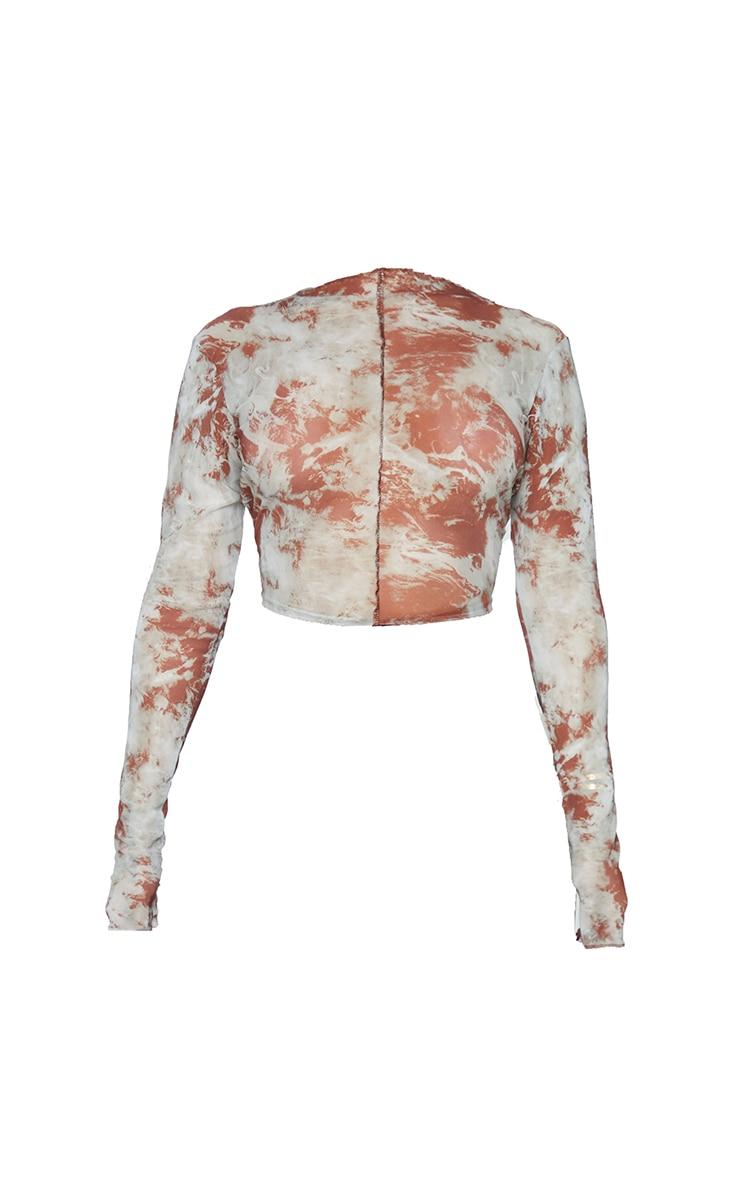 Shape Rust Tie Dye Sheer Mesh Seam Detail Crop Top 5