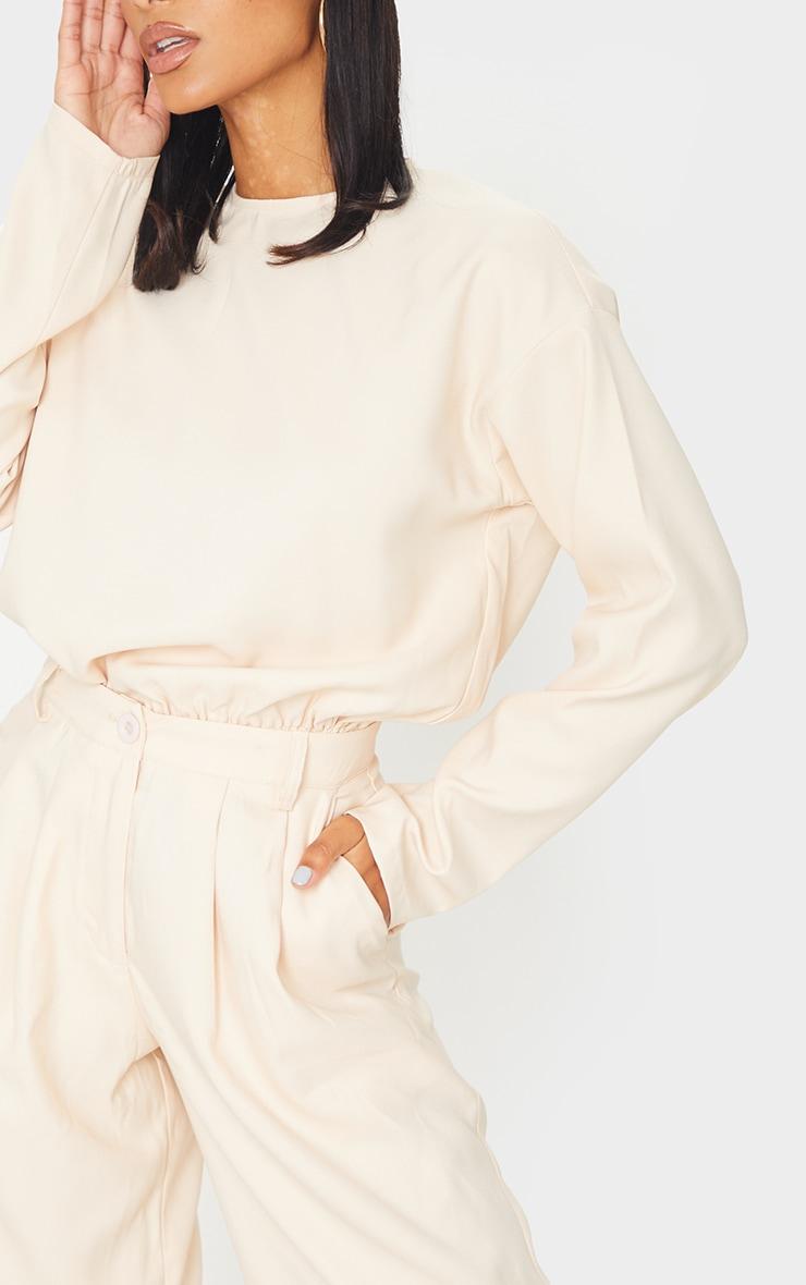 Cream Woven Elastic Hem Cropped Long Sleeve Top 4